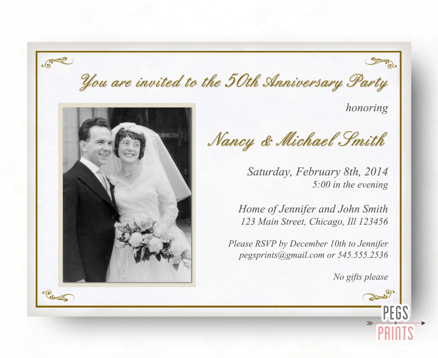 50th anniversary invitation 50th wedding anniversary. Black Bedroom Furniture Sets. Home Design Ideas