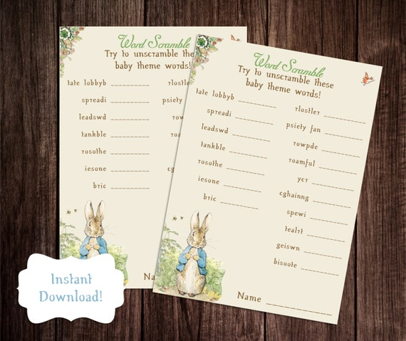 Baby Word Scramble, Printable Peter Rabbit Baby Shower