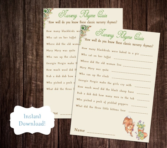 Nursery Rhyme Game Printable Peter Rabbit Baby Shower Game