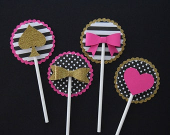 Hot Pink, Gold, and Black--Bow, Heart, & Spade Cupcake Toppers