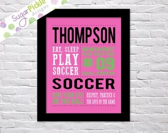 Soccer Art for girls, Soccer Subway art, Soccer Print, Soccer Stats Art, Soccer Wall Art, Soccer gift printables, Team Gift, Personalized,