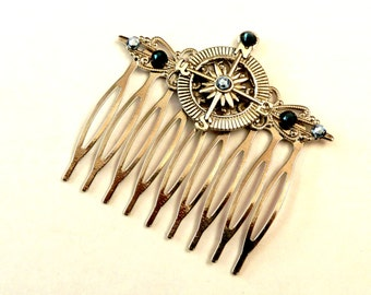 Compass hair comb in silver with crystals in blue, maritime Hair Accessories, Navigation, seafaring
