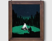 """Screen Printed """"The Great Outdoors - Campfire"""" Dusk Poster Art Adventure Screen Print by Or8 Design"""