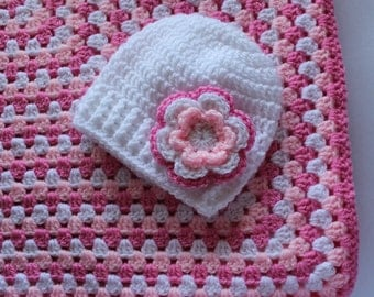 Crochet baby blanket and hat set, pink and white, granny square blanket, baby blanket, baby hat - READY TO SHIP