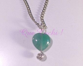 Green Aventurine Heart Pendant   with chain