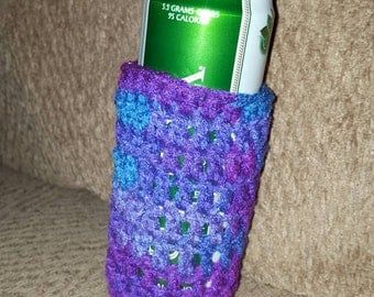 Purples and Blues Skinny Can Cozy Insulator Crochet Holder