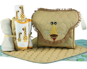 Lion Diaper Tote Personalized Baby Gift Set