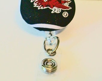 Unique Garnet and Black Gamecocks Inspired Fabric Button Retractable Badge Reel Clip