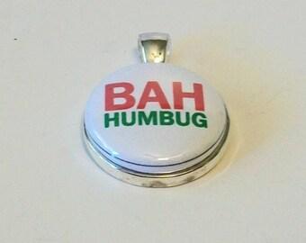 Sassy Fun Christmas Scrooge Bah Humbug Round Silver Pendant