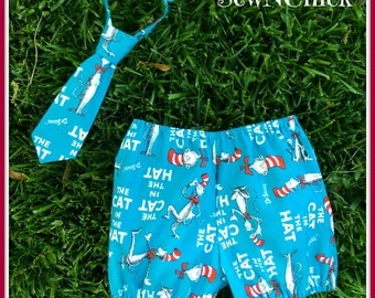 Boys Diaper Cover Shorts and Tie Set