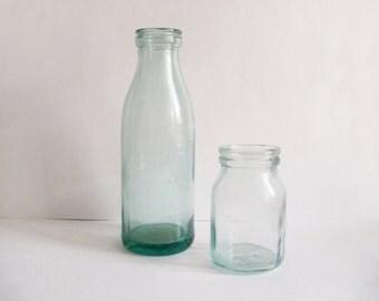 Teal glass milk bottle & cream jar Dairy bottles Minimalist country kitchen decor Soviet farmhouse Vintage milk bottles Retro photo prop
