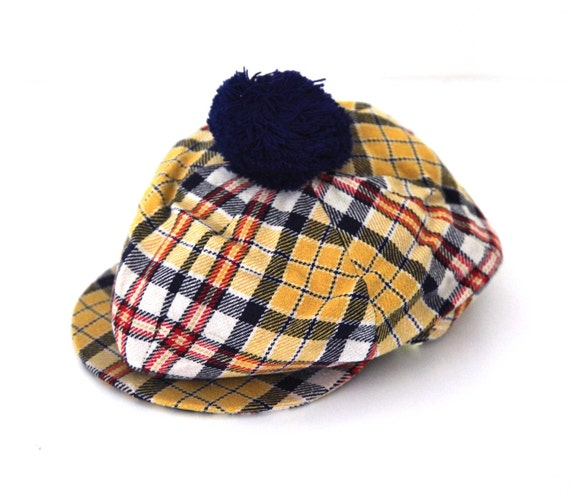 vintage 60s plaid pom pom golf hat with visor golfer foxhunter. Black Bedroom Furniture Sets. Home Design Ideas