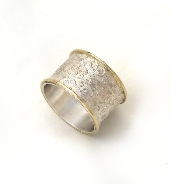 Wide Silver Wedding Ring Flower And Leaf Pattern Women's