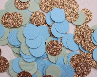 Blue, Mint and Gold Confetti. 150 Pieces. Wedding - Engagement - Table Scatters - Invitation Insert.