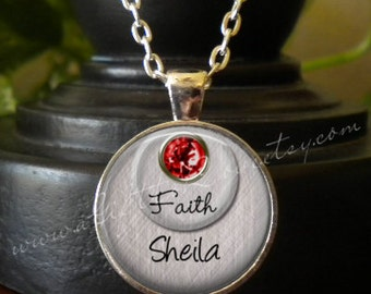 SALE! Birthstone Pendant -  Personalized with Name  - Birthday Gift - Gift for Mom