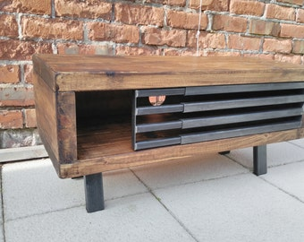 Tv stand rustic industrial tv stand unit with sliding metal grid front industrial chic cabinet