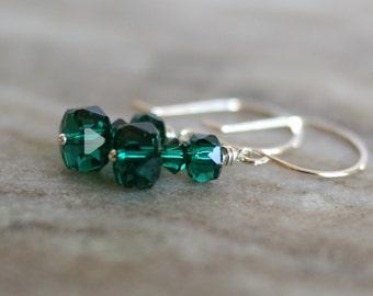 Swarovski emerald earrings, Swarovski Emerald green crystal drop earrings, sterling silver French hook ear wires, Swarovski gift for her