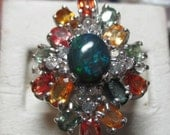 Ladies gorgeous sapphire and black opal fine large sterling ring genuine stones