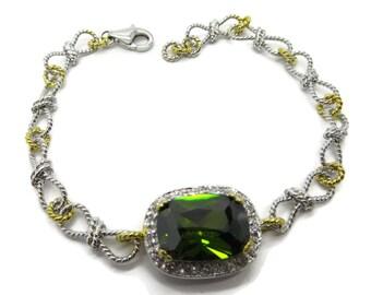 Peridot & Topaz Sterling Silver Bracelet, Vintage Two Tone Silver Chain Link Bracelet