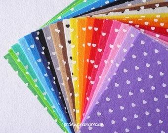 20 mixed colour 6x6 or 12x12 inches heart printed felt sheet.