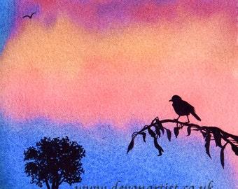 Watercolour Sunset Silhouette , Bird & Tree Landscape