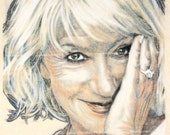 Original, hand drawn portrait of Dame Helen Mirren, in charcoal and pastel on calico