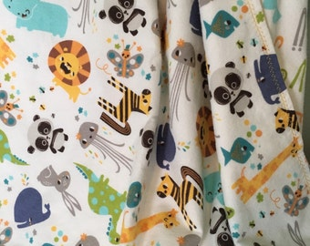 Double Layer Flannel Receiving Blanket ~ Swaddle Blanket ~ Flannel Baby Blanket ~ Jungle Animals ~ Sea Life Baby