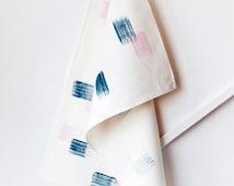 Brush strokes tea towel, eco friendly handmade kitchen towel, dark blue + pink hand painted on natural hemp & organic cotton, kitchen gift