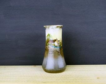 Antique Edwardian Landscape Scenic Vase 15.5 cm/6.1 inches tall