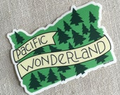 Pacific Wonderland Vinyl Sticker // Modern Illustrated Oregon State Sticker // Hand Lettering