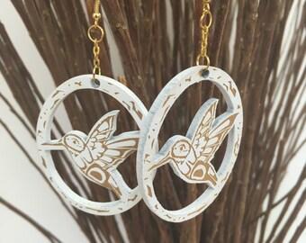 White Humming Bird Earrings