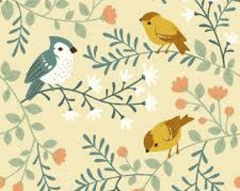 Birds and Branches in Cream (Organic Canvas Fabric) for Birch Fabrics