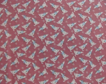 Beige Ducks With Blue Flowers on Mauve Cotton BTY