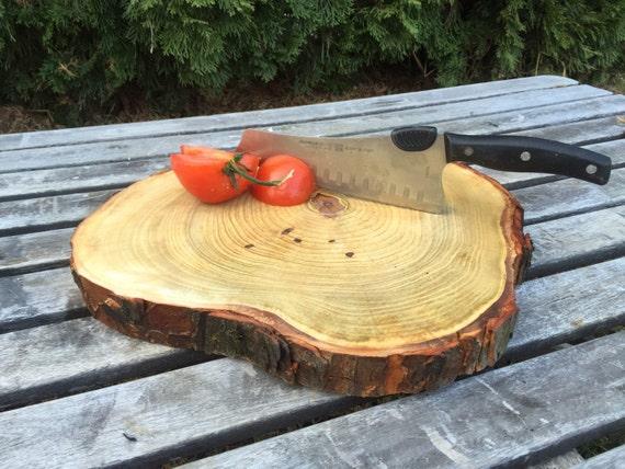 Large log chestnut cutting board wood slice rustic butcher