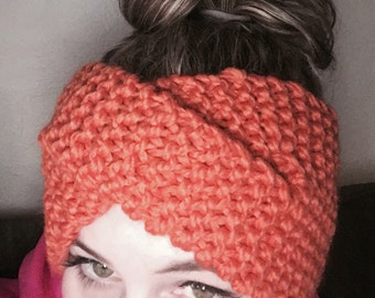 Burnt orange twist headband.