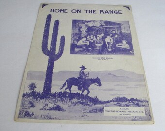 Home on the Range, Vintage Sheet Music, 1930s, Campfire Song, Cowboy Music, Western Music, Cowboy Decor, Western Decor