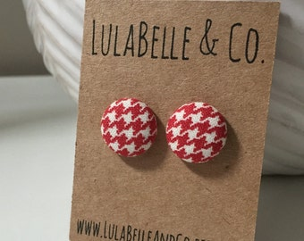 Mini Red Houndstooth Button Earring