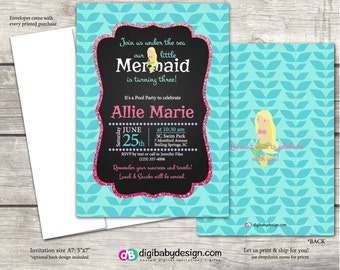 Mermaid Birthday Party Invitation, chalkboard in teal seagrass, pink and purple, Custom digital invitation files