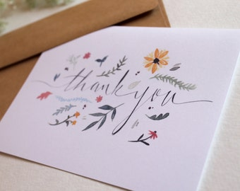 Floral Thank-You Illustrated Notecard Set - 4 Cards