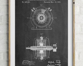 Tesla Alternating Current Generator Poster, Tesla Patent, Science Poster, Engineer Gift, PP1090