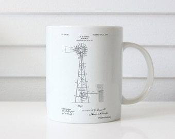 Windmill 1906 Patent Mug, Antique Windmill, Farm Mug, Windmill Decor, Farmhouse Decor, PP1137