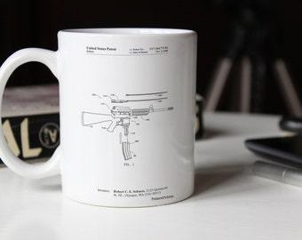 AR 15 Patent Mug, AR 15 Gun, Gun Mug, Military Mug, M16, PP0704