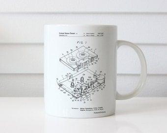 Toshiba Cassette Tape Recorder Patent Mug, 80s Decor, DJ Gift, Retro Radio, Cassette Recorder, PP1104