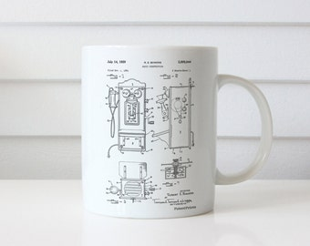 Wall Phone Patent Mug, Antique Telephone, Vintage Phone, Antique Mug, Phone Decoration, Farmhouse Decor, PP0065