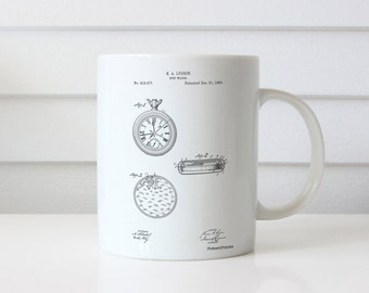 Stopwatch Patent Mug, Gifts for Runners, Pocket Watch, Swimmer Gift, Fashion Decor, Coach Gift, PP0940