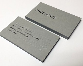 Letterpress Business Cards -100, 700gsm Grey Paper