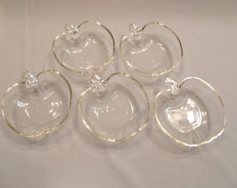 Set of 5 vintage glass apple dishes