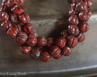 Primitive Red Melons (50) - Czech Glass Bead - 5mm - Melon