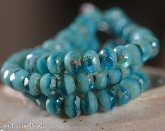 NEW! Layered Ocean Bits (30) - Czech Glass Bead - 5x3mm - Faceted Rondelle