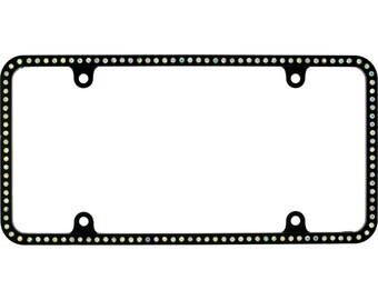 Swarovski Clear Crystal license Plate Slim Metal Black Frame With Crystal Screw Caps